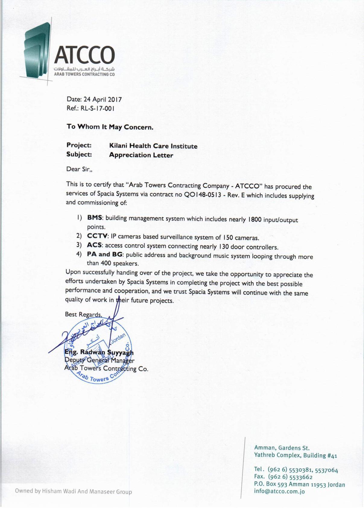 Appreciation Letter- Kilani Health Care Institute